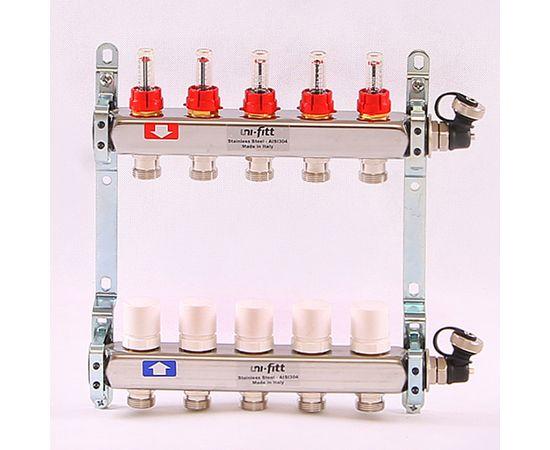 Коллектор из нерж. стали с расходомерами и термостатическим вентилями 5 выходов, фото 1