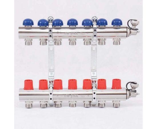 Коллектор из латуни с регулировочными и термостатическими вентилями 7 выходов, фото 1