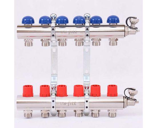 Коллектор из латуни с регулировочными и термостатическими вентилями 6 выходов, фото 1