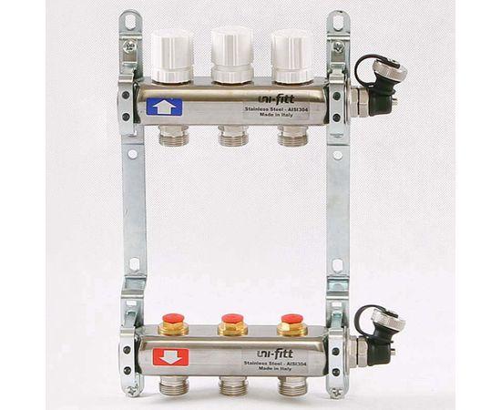 Коллектор из нержавеющей стали с регулировочными и термостатическими вентилями 3 выхода, фото 1