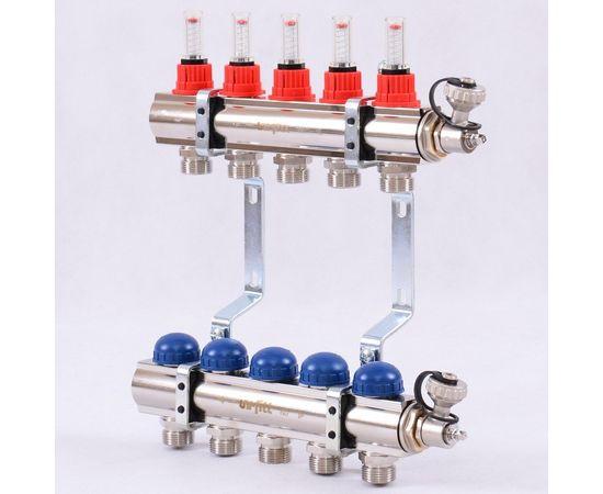 Коллектор из латуни с расходомерами и термостатическими вентилями 5 выходов, фото 1