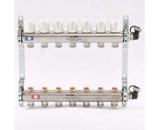 Коллектор из нержавеющей стали с регулировочными и термостатическими вентилями 7 выходов, фото 1