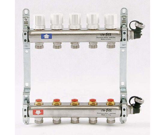 Коллектор из нержавеющей стали с регулировочными и термостатическими вентилями 5 выходов, фото 1