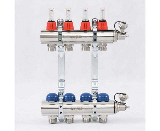 Коллектор из латуни с расходомерами и термостатическими вентилями 4 выхода, фото 1